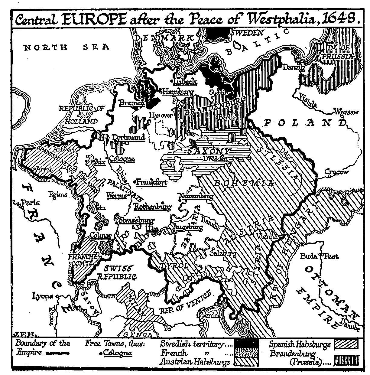 The Breakup And Disorder Of Germany The Outline Of History - Europe map 1648 westphalia